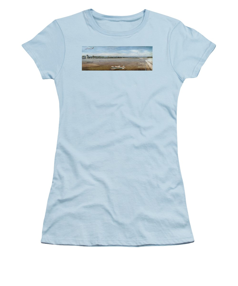 Small City Airport Planes Taking Off Fine Art Photograph Digital Watercolor Texture Overlay Women's T-Shirt (Athletic Fit) featuring the photograph Small City Airport Plane Taking Off by David Zanzinger