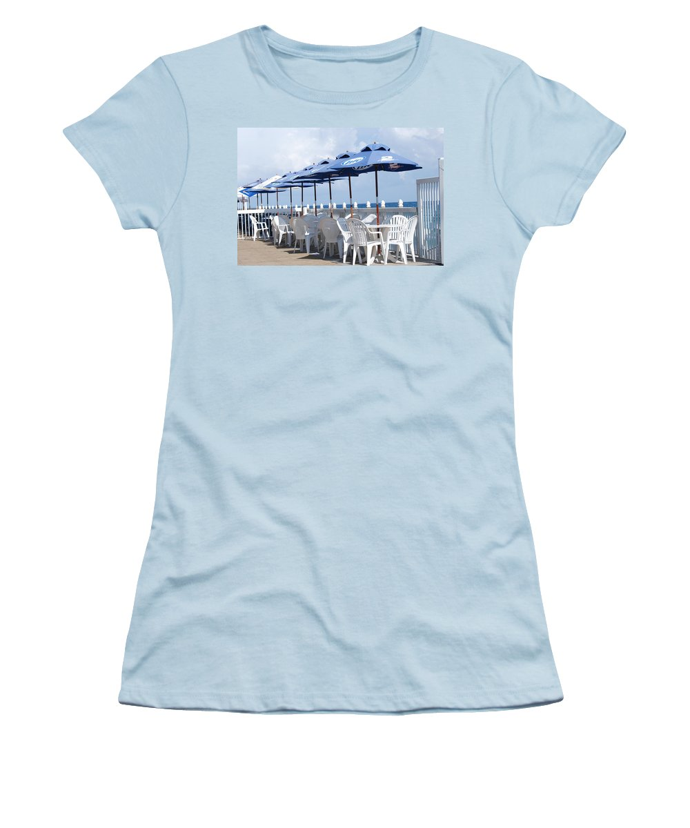 Chairs Women's T-Shirt (Athletic Fit) featuring the photograph Beer Unbrellas by Rob Hans