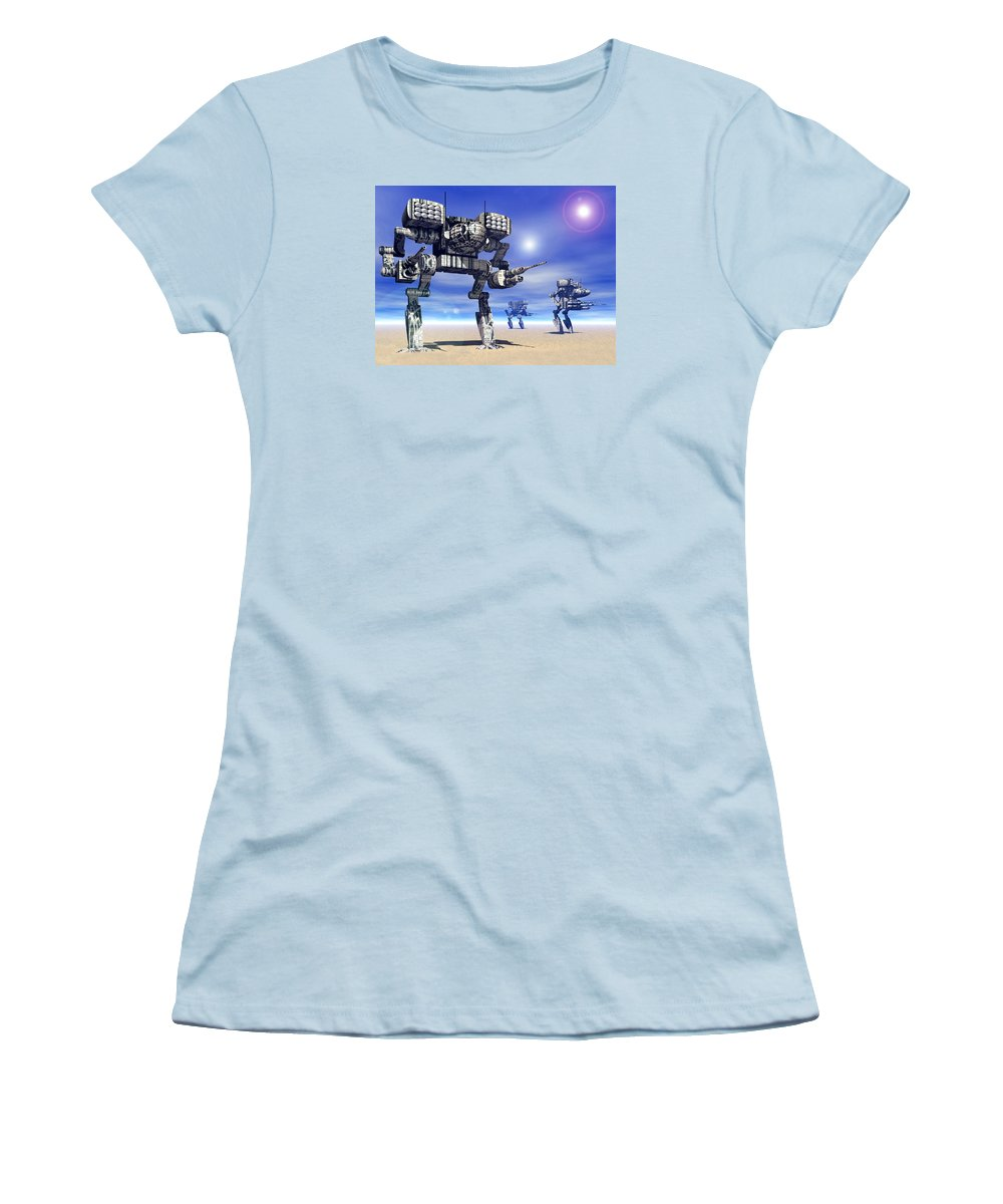 Science Fiction Women's T-Shirt (Athletic Fit) featuring the digital art 501st Mech Trinary by Curtiss Shaffer