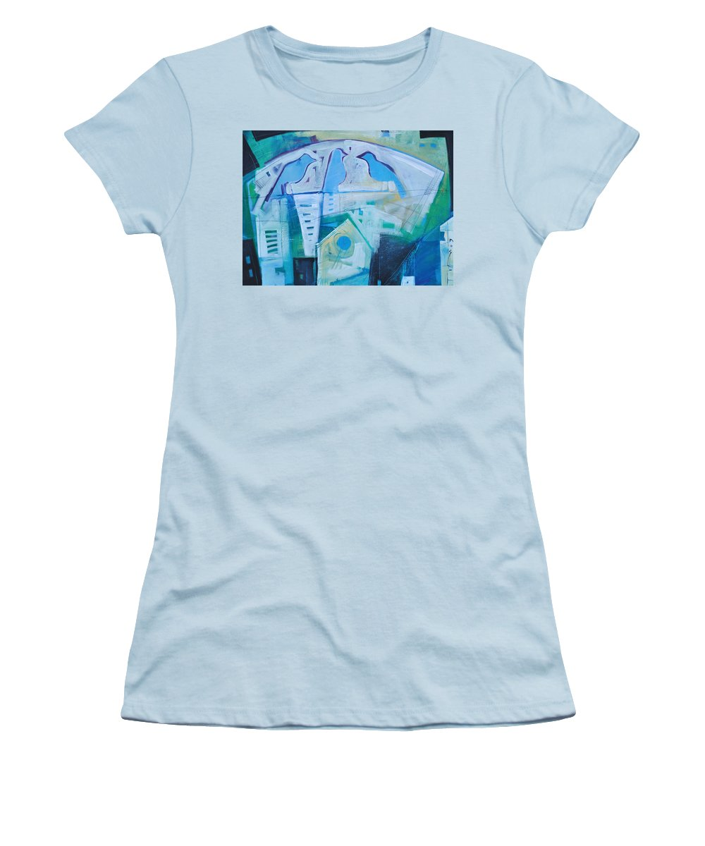 Birds Women's T-Shirt (Athletic Fit) featuring the painting A Birds Life by Tim Nyberg