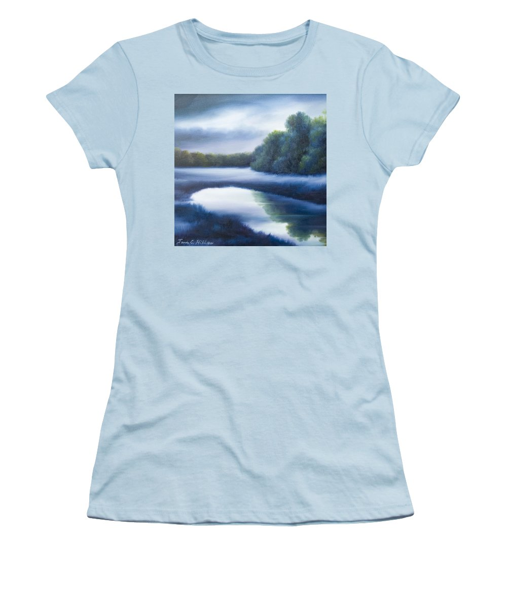 Nature; Lake; Sunset; Sunrise; Serene; Forest; Trees; Water; Ripples; Clearing; Lagoon; James Christopher Hill; Jameshillgallery.com; Foliage; Sky; Realism; Oils; Green; Tree; Blue; Pink; Pond; Lake Women's T-Shirt (Athletic Fit) featuring the painting A Day In The Life 4 by James Christopher Hill
