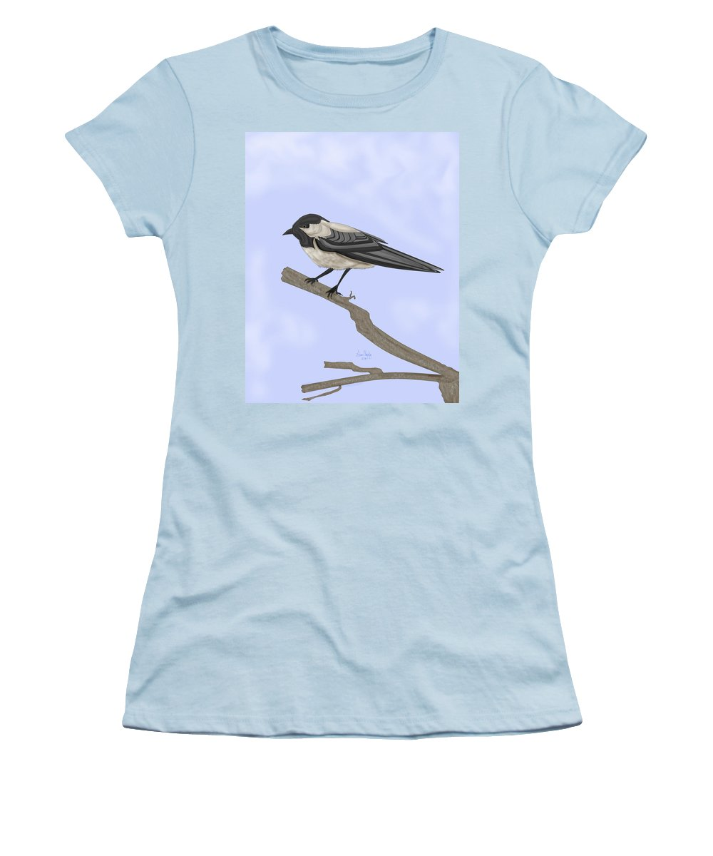 Bird Women's T-Shirt (Athletic Fit) featuring the painting A Small Guest by Anne Norskog