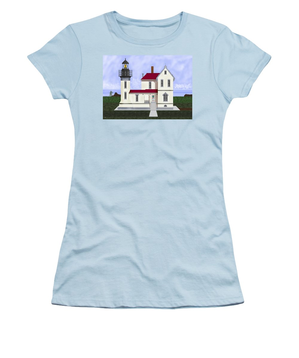 Admiralty Head Women's T-Shirt (Athletic Fit) featuring the painting Admiralty Head Light Station Circa 1920 by Anne Norskog