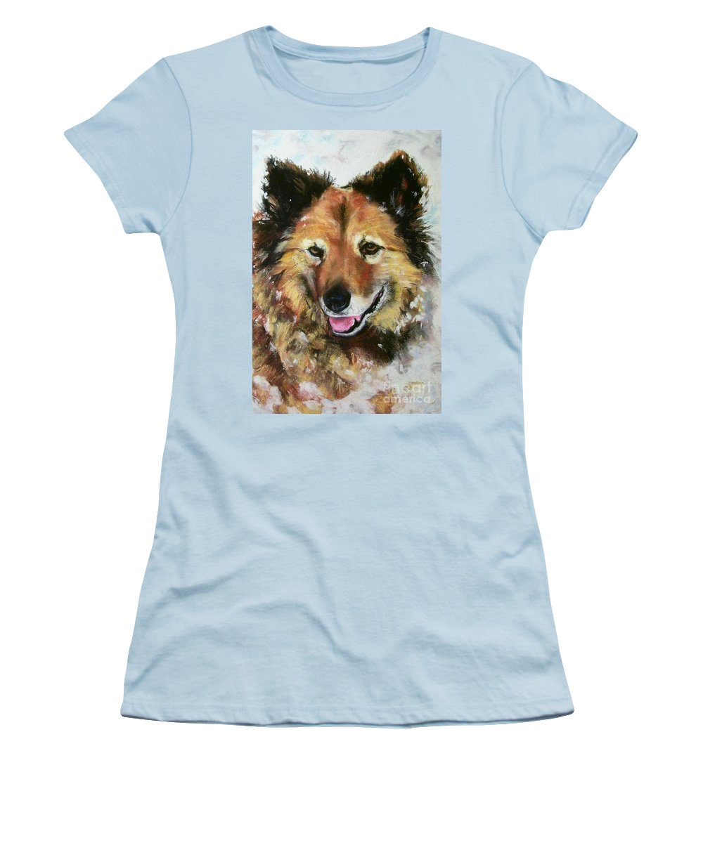 Dog Women's T-Shirt (Athletic Fit) featuring the painting Akia by Frances Marino