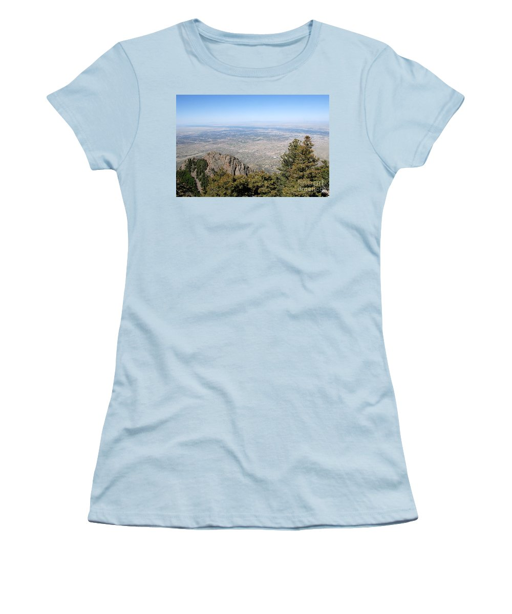 Albuquerque Women's T-Shirt (Athletic Fit) featuring the photograph Albuquerque And The Rio Grande by David Lee Thompson