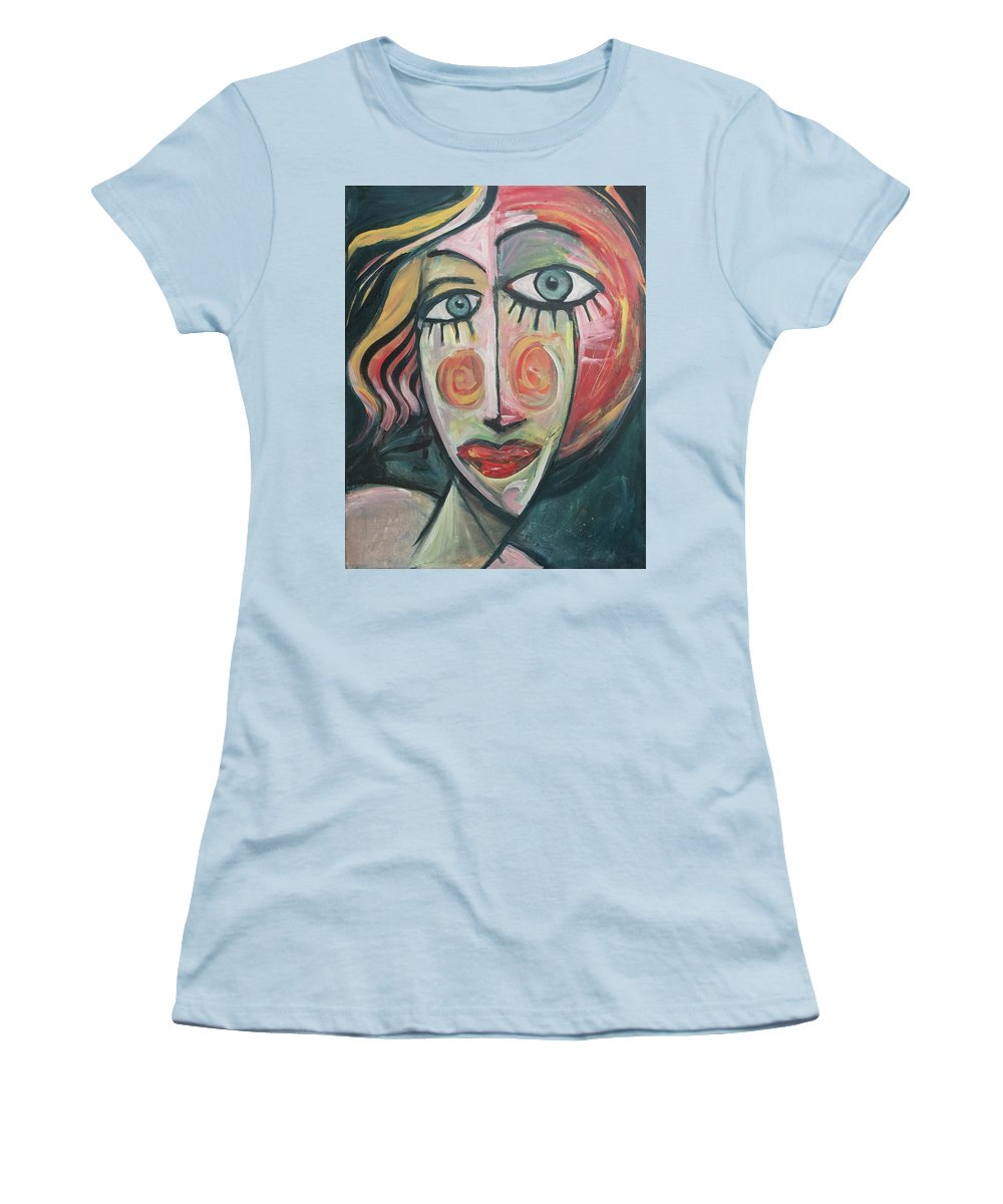 Woman Women's T-Shirt (Athletic Fit) featuring the painting Amber by Tim Nyberg
