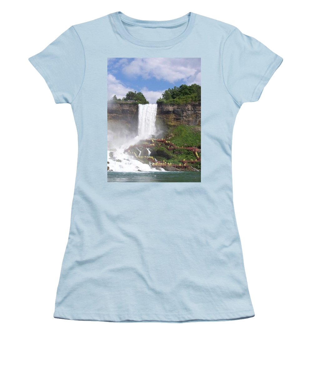 Niagra Falls Women's T-Shirt (Athletic Fit) featuring the photograph American Falls At Niagra by Laurie Paci
