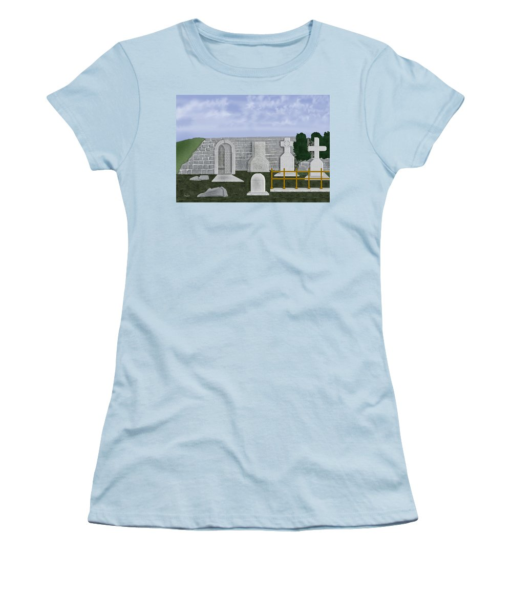 Ireland Women's T-Shirt (Athletic Fit) featuring the painting Ancient Irish Stones Image 9577 The Beverlee Chronicles by Anne Norskog