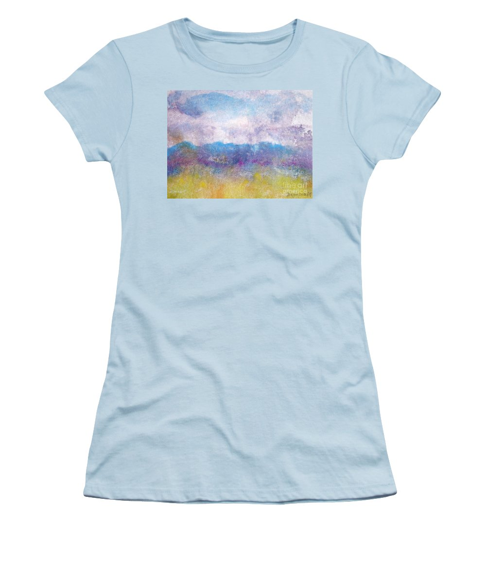Abstract Women's T-Shirt (Athletic Fit) featuring the painting Arizona Impressions by Jan Bennicoff