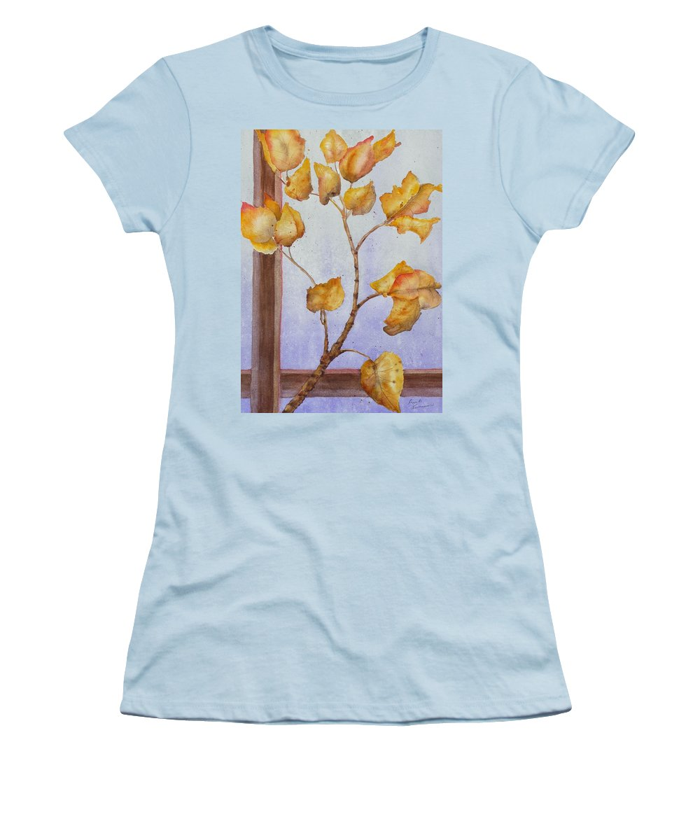 Leaves Women's T-Shirt (Athletic Fit) featuring the painting Aspen by Ruth Kamenev