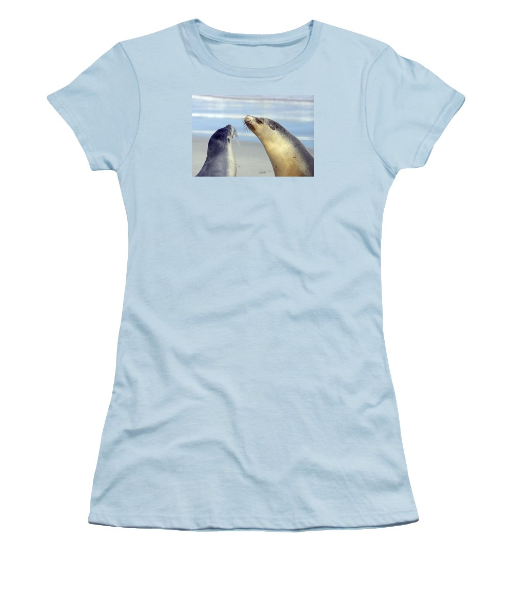 Sea Lion Women's T-Shirt (Athletic Fit) featuring the photograph Backtalk by Mike Dawson