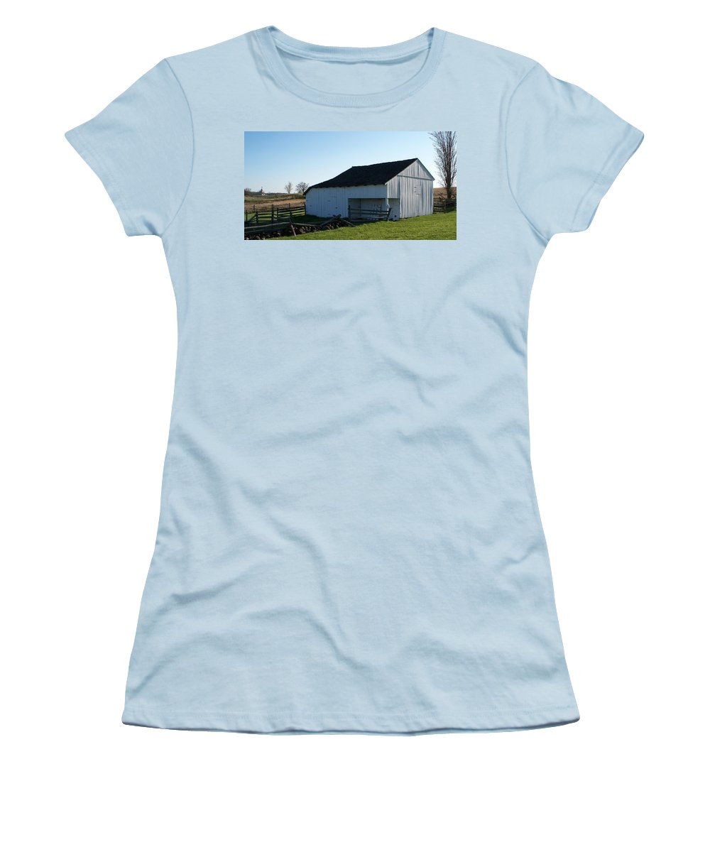 Barn Women's T-Shirt (Athletic Fit) featuring the painting Barn Gettysburg Battle Field by Eric Schiabor