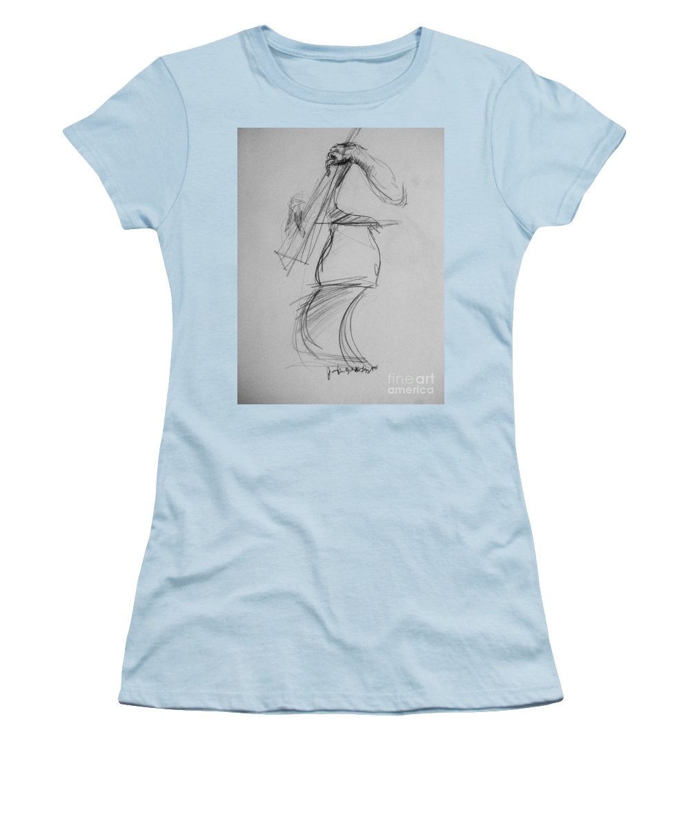 Bass Women's T-Shirt (Athletic Fit) featuring the drawing Bass Man by Jamey Balester