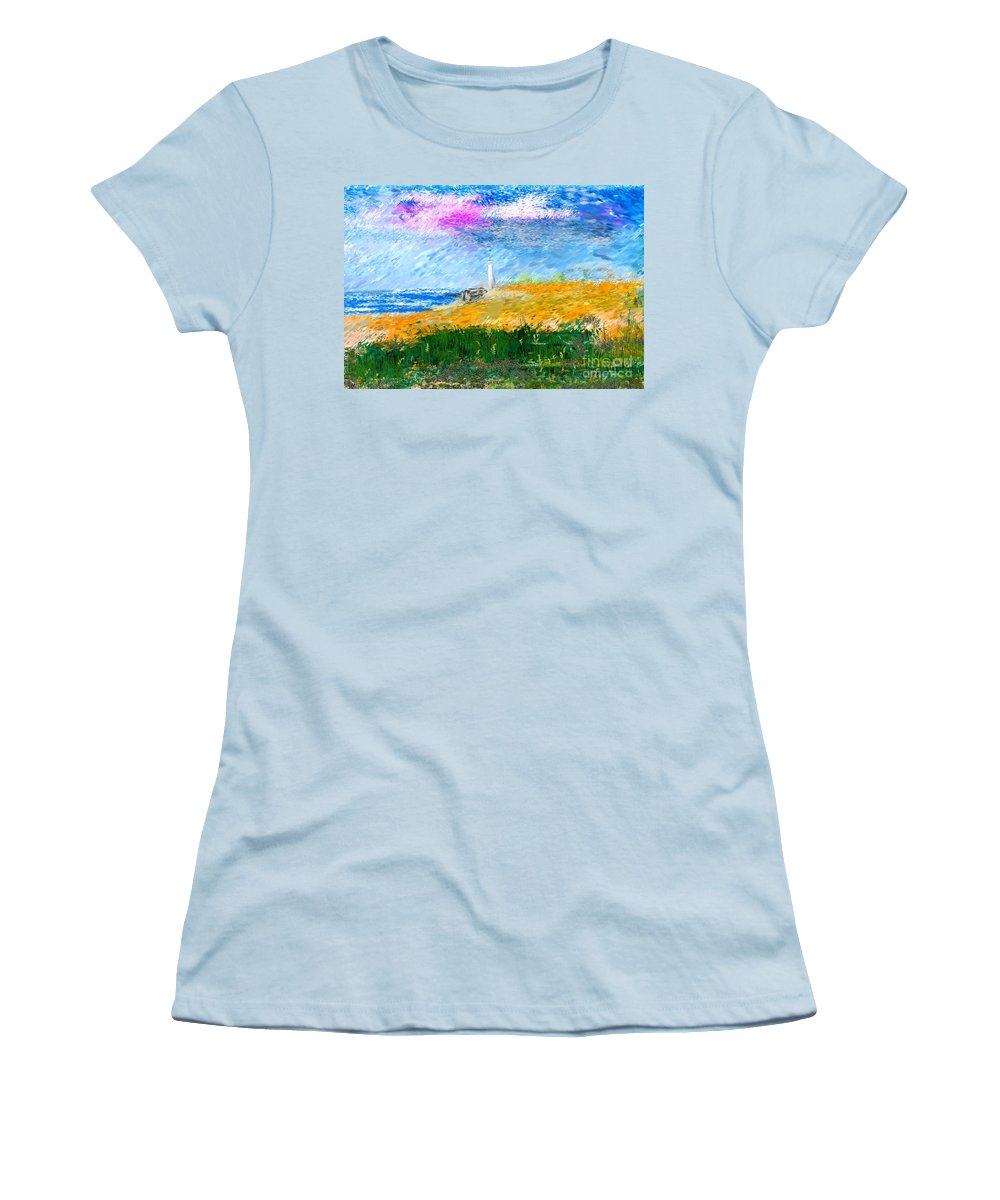 Digital Painting Women's T-Shirt (Athletic Fit) featuring the digital art Beach Lighthouse by David Lane