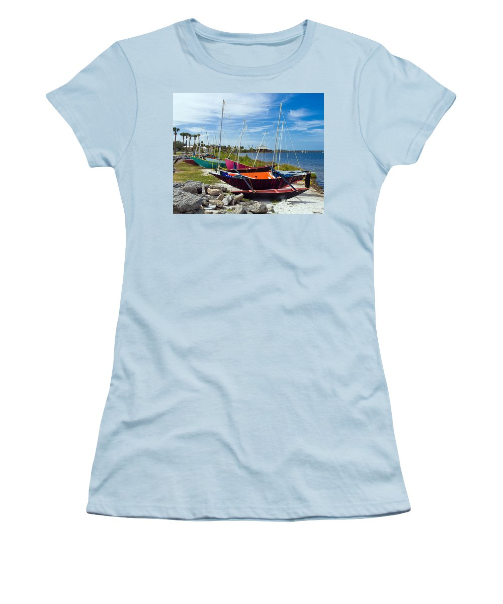 Sail; Sailing; Boat; Sailboat; Mast; Plywood; Homemade; Boy; Scouts; Fleet; Class; Dragon; Tiller; F Women's T-Shirt (Athletic Fit) featuring the photograph Beached In Sebastian Florida by Allan Hughes
