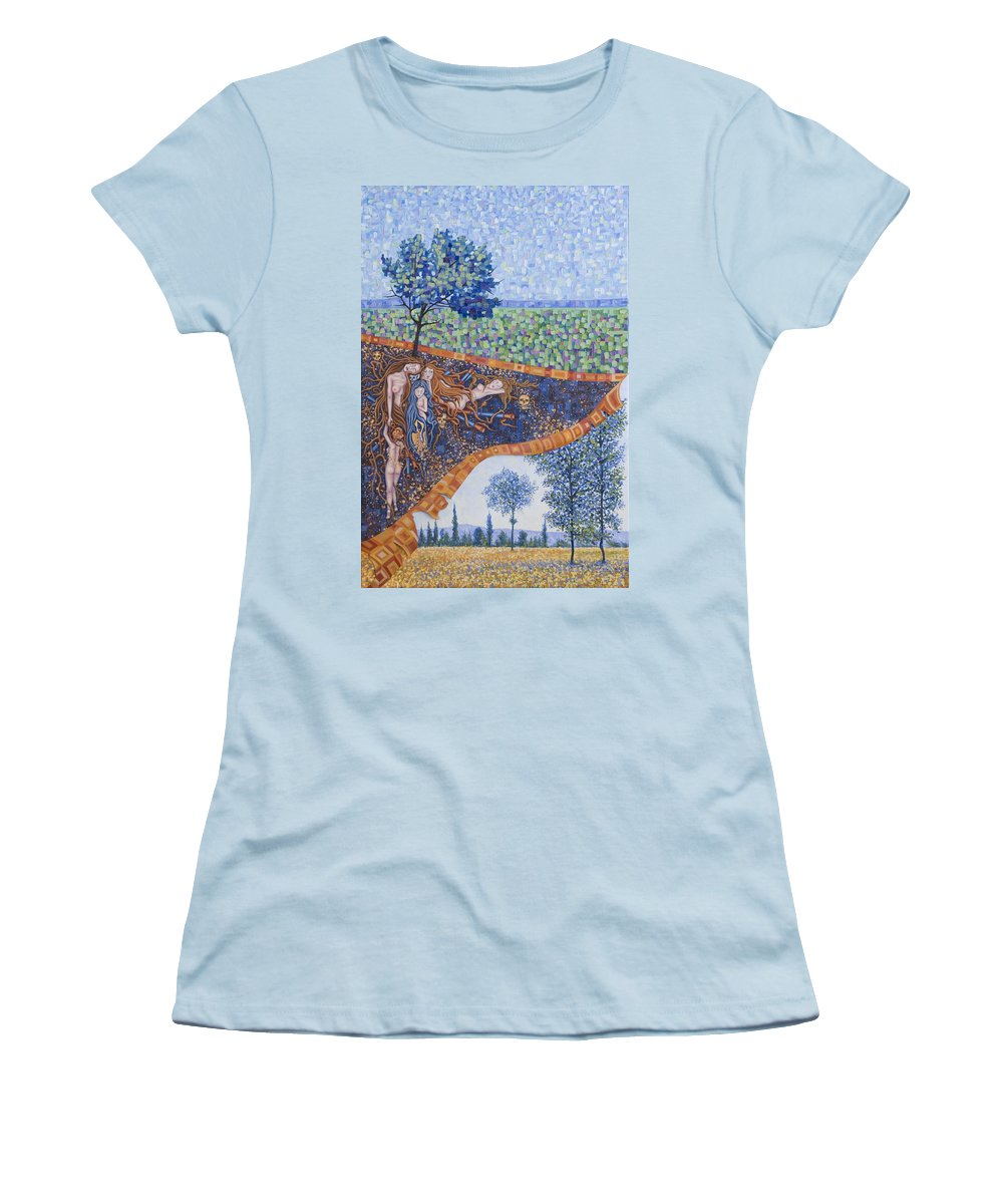 Canvas Women's T-Shirt (Athletic Fit) featuring the painting Behind The Canvas by Judy Henninger