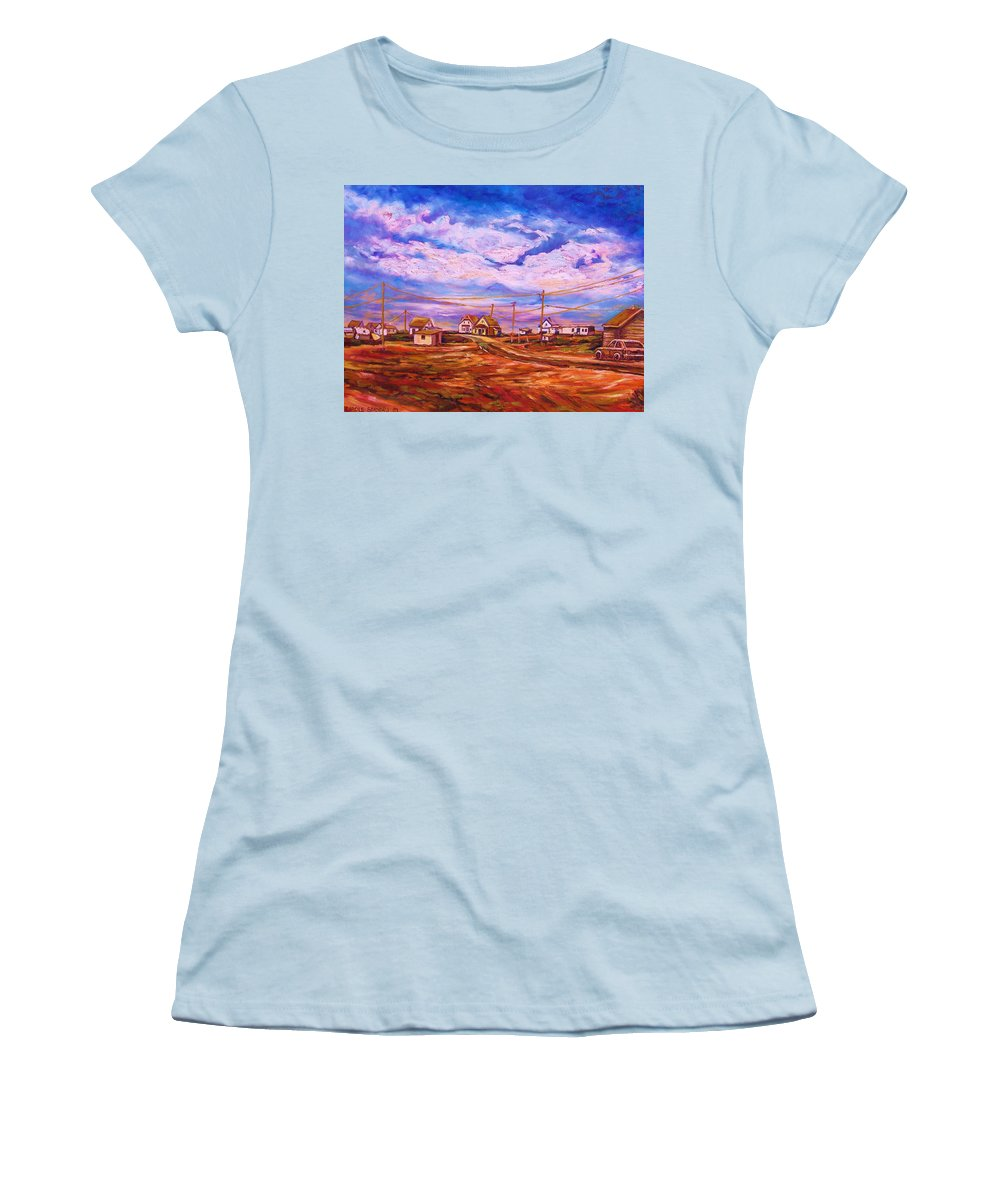 Cloudscapes Women's T-Shirt (Athletic Fit) featuring the painting Big Sky Red Earth by Carole Spandau
