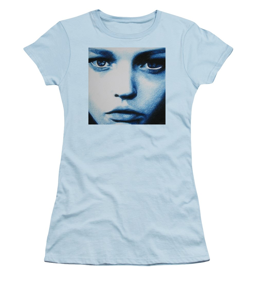 Girl Women's T-Shirt (Athletic Fit) featuring the painting Blue by Lynet McDonald