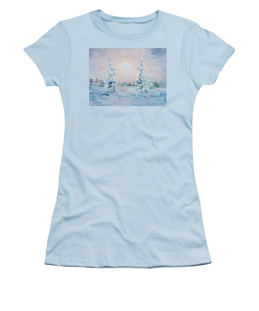 Landscape Women's T-Shirt (Athletic Fit) featuring the painting Blue Winter by Nadine Rippelmeyer