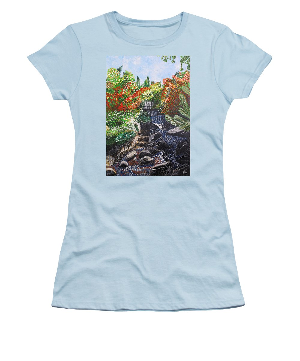 Landscape Women's T-Shirt (Athletic Fit) featuring the painting Botanic Garden Merano 1 by Valerie Ornstein