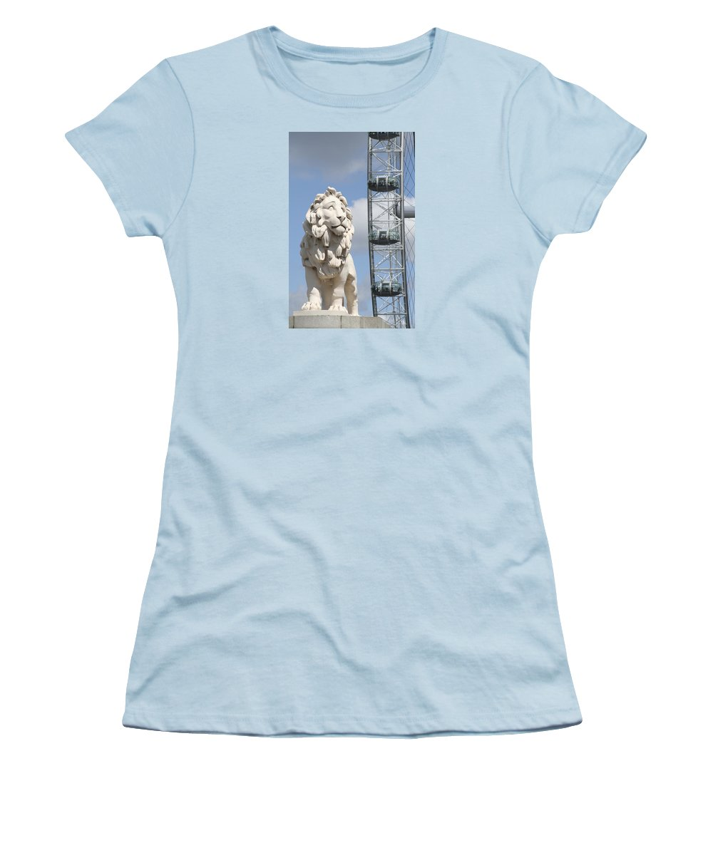 Lion Women's T-Shirt (Athletic Fit) featuring the photograph Britannia Lion by Margie Wildblood