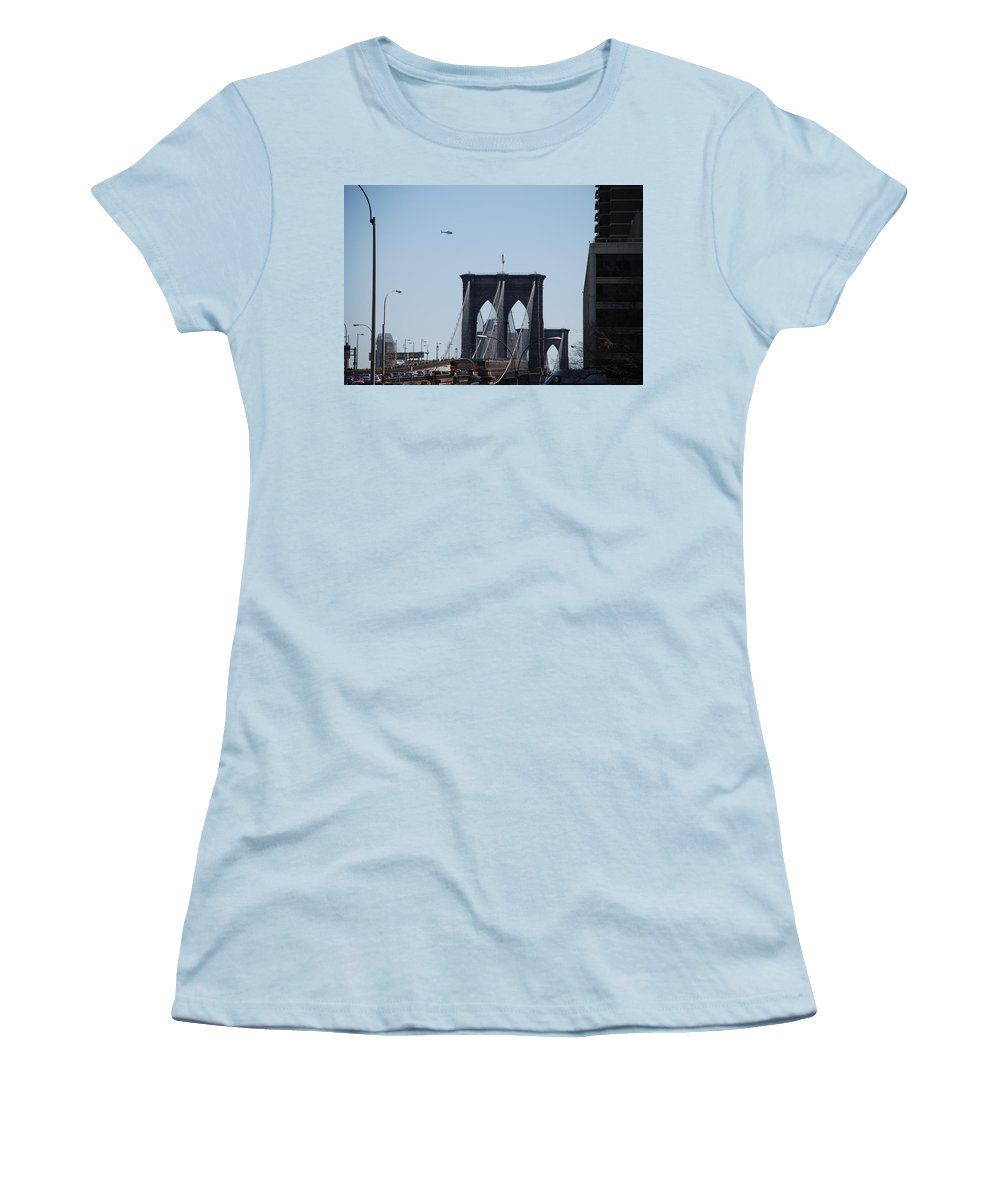 Architecture Women's T-Shirt (Athletic Fit) featuring the photograph Brooklyn Bridge by Rob Hans