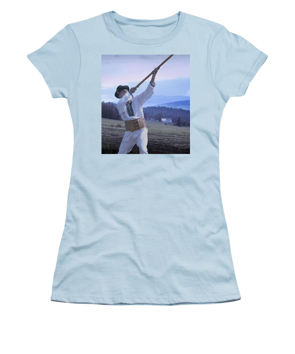 Ethnic Women's T-Shirt (Athletic Fit) featuring the photograph Carpathian Highlander by Yuri Lev