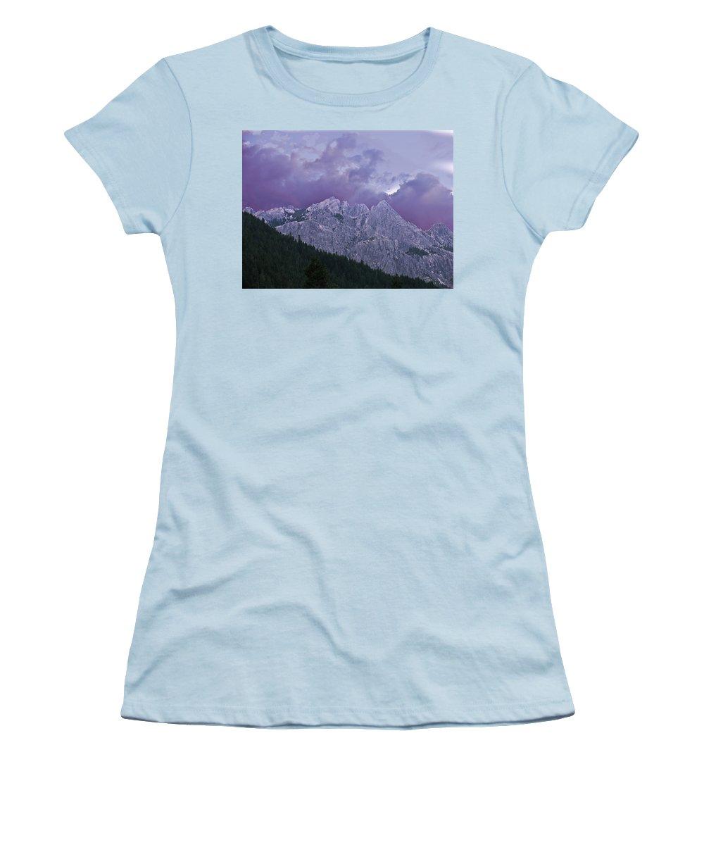 Landscape Women's T-Shirt (Athletic Fit) featuring the photograph Castle Craggs by Karen W Meyer