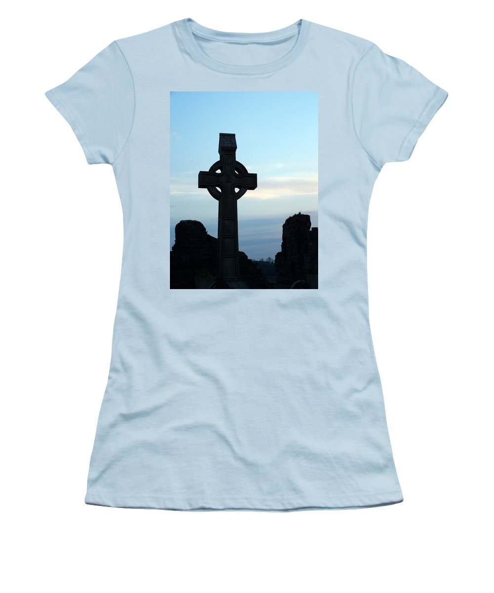 Irish Women's T-Shirt (Athletic Fit) featuring the photograph Celtic Cross At Sunset Donegal Ireland by Teresa Mucha