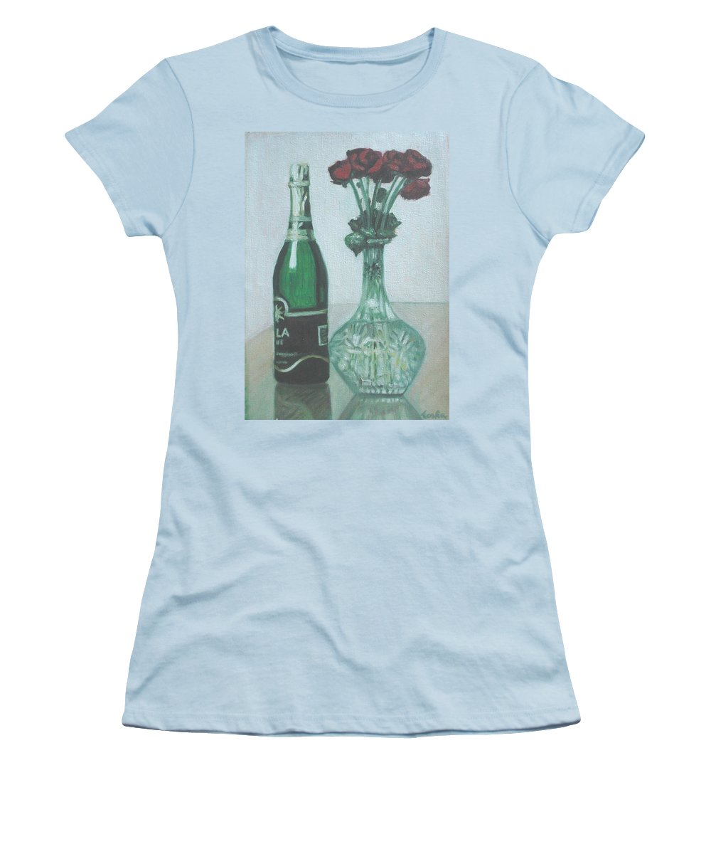 Champagne Women's T-Shirt (Athletic Fit) featuring the painting Champagne And Roses by Usha Shantharam