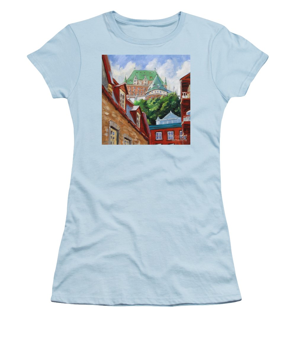 Chateau Frontenac Women's T-Shirt (Athletic Fit) featuring the painting Chateau Frontenac by Richard T Pranke
