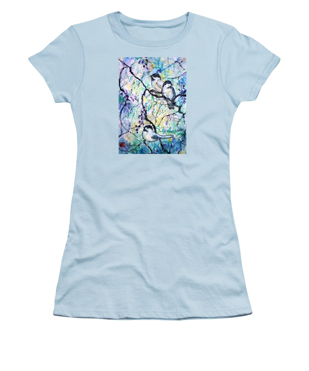 Birds Women's T-Shirt (Athletic Fit) featuring the painting Chickadees by Norma Boeckler