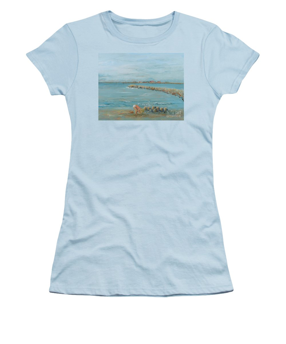 Beach Women's T-Shirt (Athletic Fit) featuring the painting Child Playing At Provence Beach by Nadine Rippelmeyer