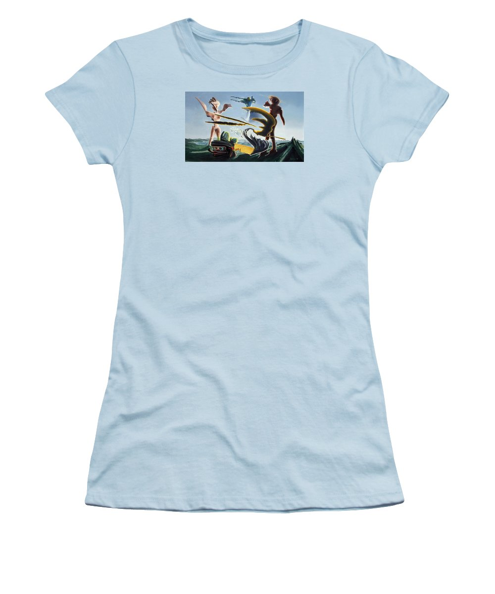 Landscape Women's T-Shirt (Athletic Fit) featuring the painting Civilization Found Intact by Dave Martsolf