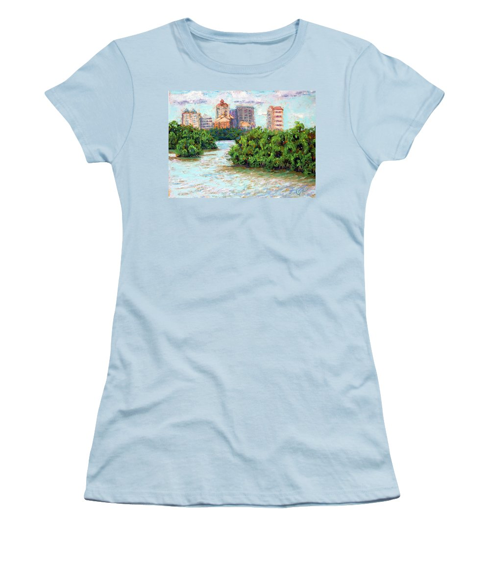 Clam Pass Women's T-Shirt (Athletic Fit) featuring the painting Clam Pass I by Laurie Paci