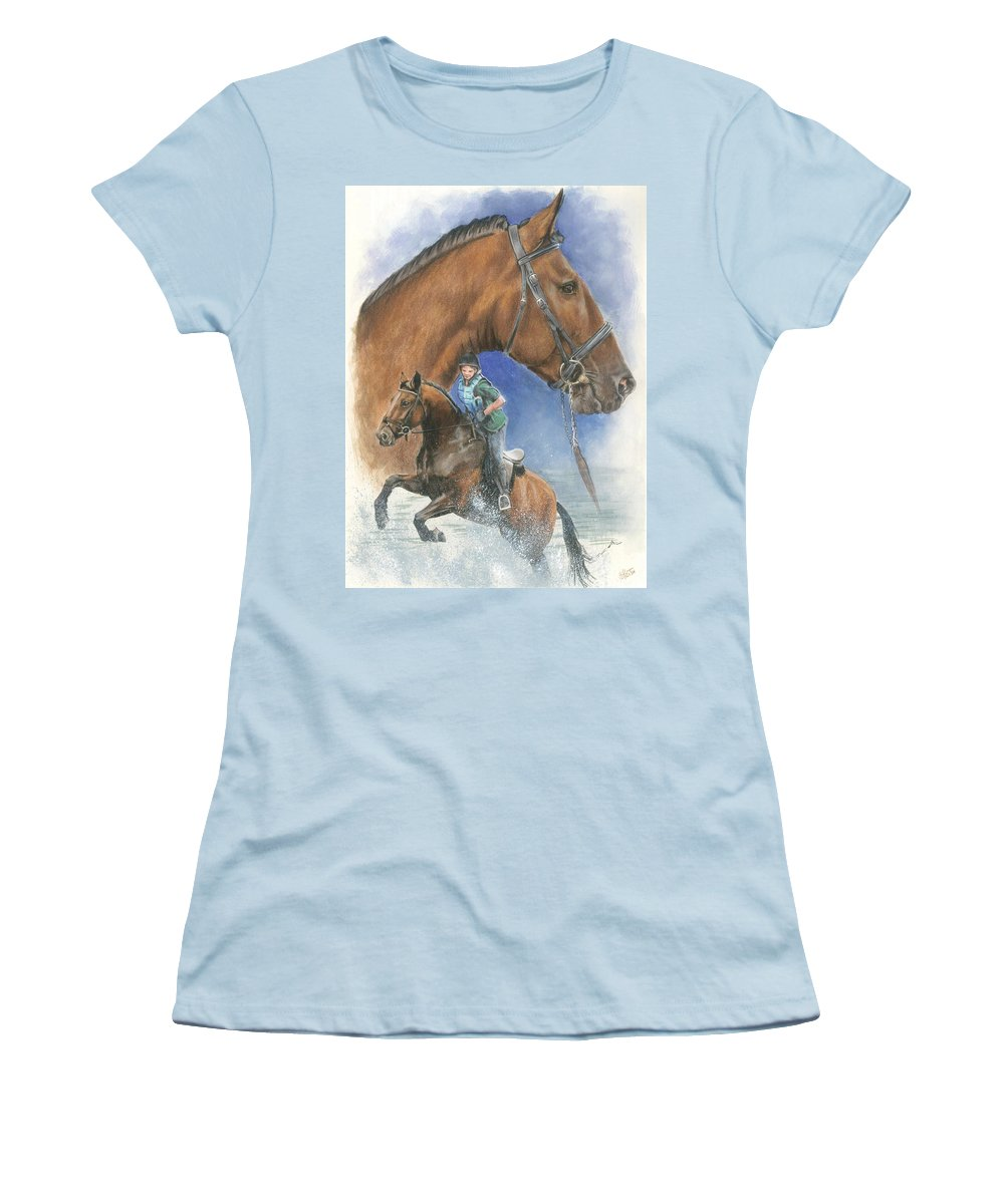 Equus Women's T-Shirt (Athletic Fit) featuring the mixed media Cleveland Bay by Barbara Keith