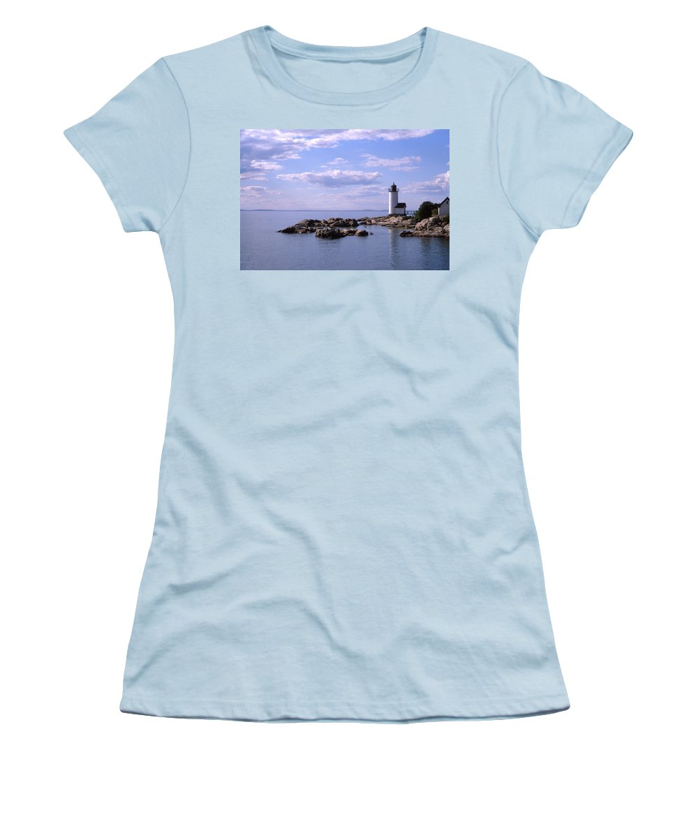 Landscape Lighthouse New England Nautical Women's T-Shirt (Athletic Fit) featuring the photograph Cnrf0901 by Henry Butz