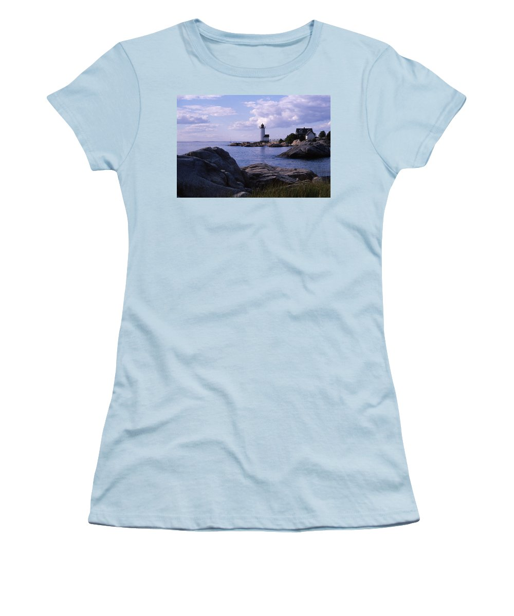 Landscape Lighthouse New England Annisquam Harbor Light Gloucester Women's T-Shirt (Athletic Fit) featuring the photograph Cnrf0903 by Henry Butz