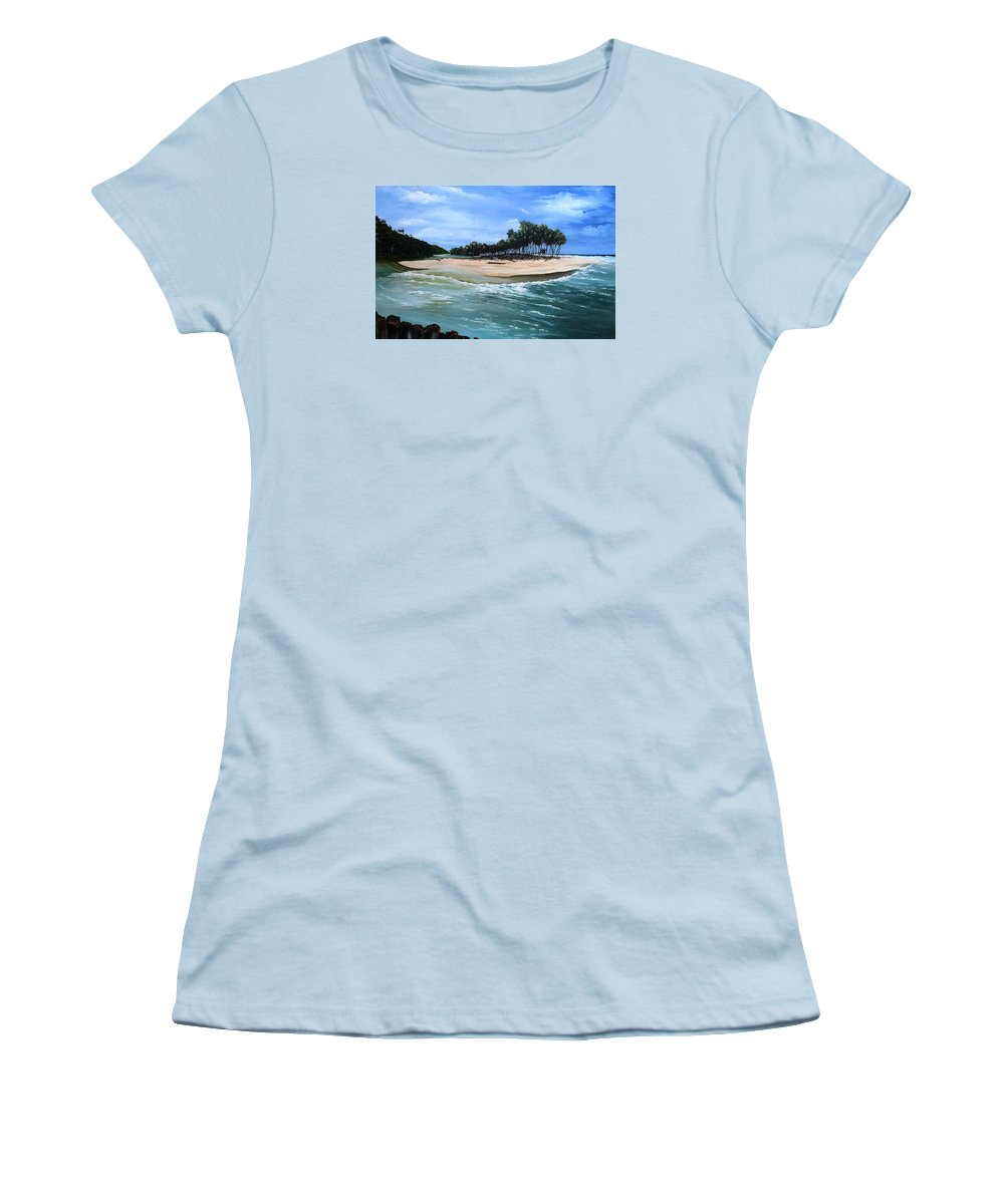 Ocean Paintings Sea Scape Paintings  Beach Paintings Palm Trees Paintings Water Paintings River Paintings  Caribbean Paintings  Tropical Paintings Trinidad And Tobago Paintings Beach Paintings Women's T-Shirt (Athletic Fit) featuring the painting Cocos Bay Trinidad by Karin Dawn Kelshall- Best