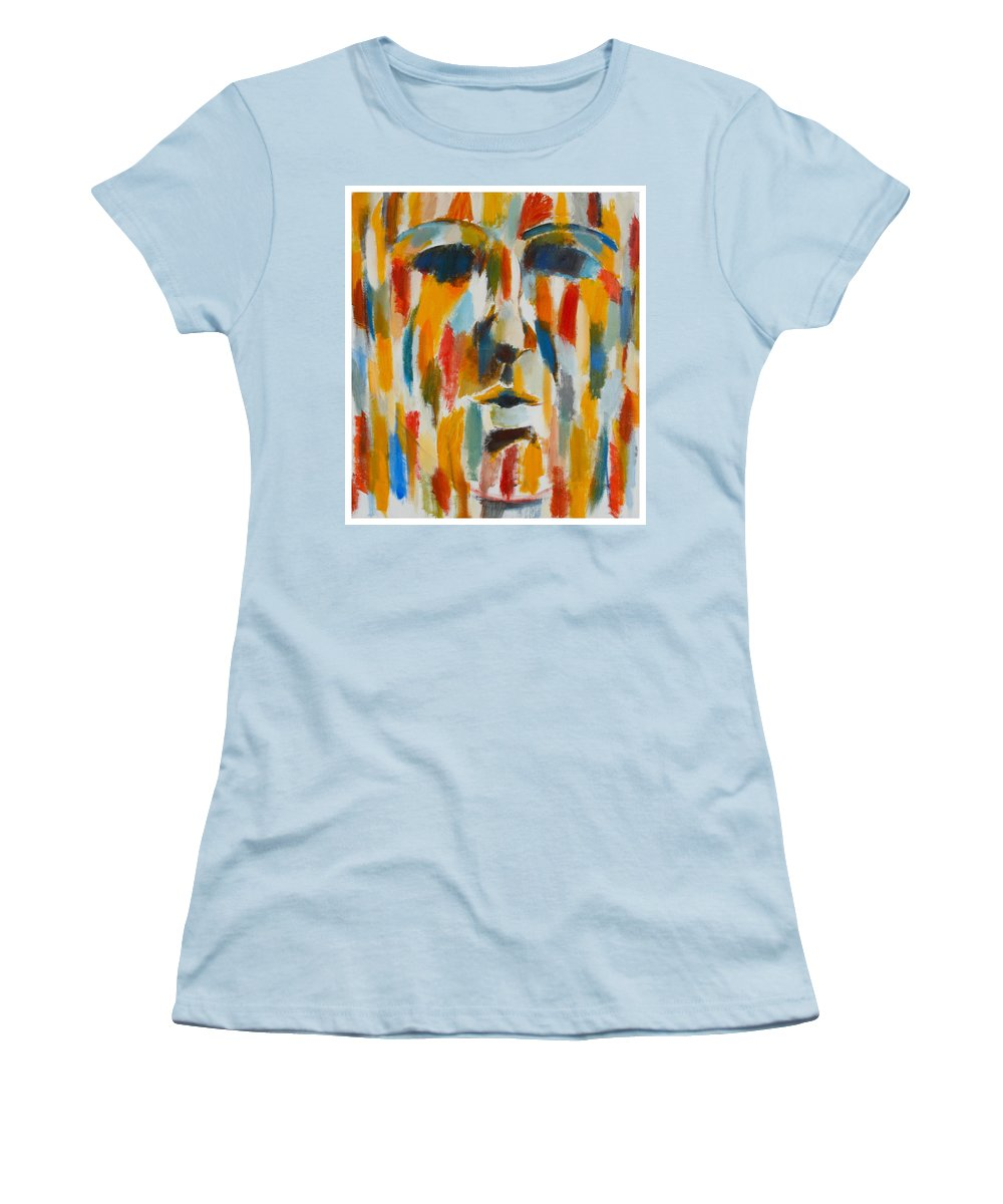 Yellow Women's T-Shirt (Athletic Fit) featuring the painting Color Blind by Habib Ayat