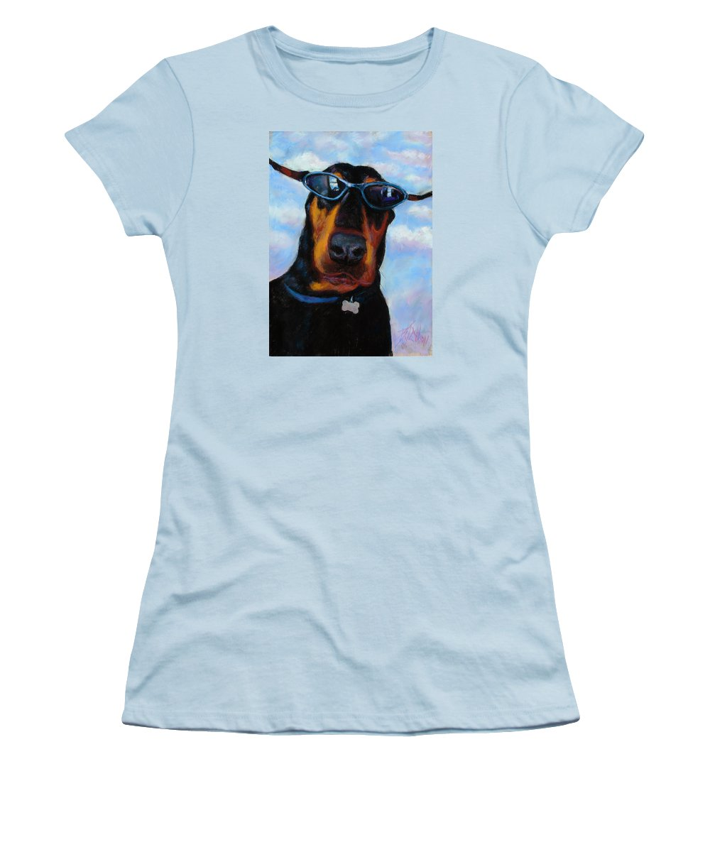 Doberman Pincher Art Women's T-Shirt (Athletic Fit) featuring the painting Cool Dob by Billie Colson