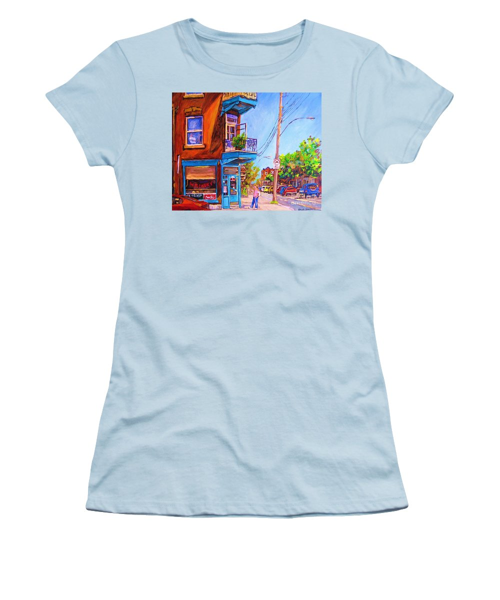 Wilenskys Corner Fairmount And Clark Women's T-Shirt (Athletic Fit) featuring the painting Corner Deli Lunch Counter by Carole Spandau