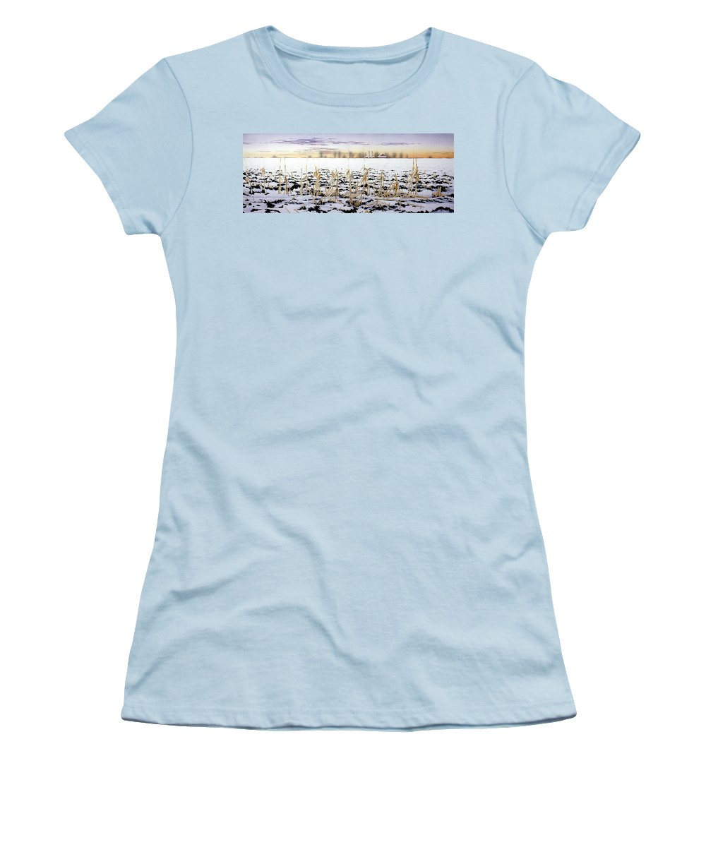 Winter Women's T-Shirt (Athletic Fit) featuring the painting Cornfield In Winter by Conrad Mieschke
