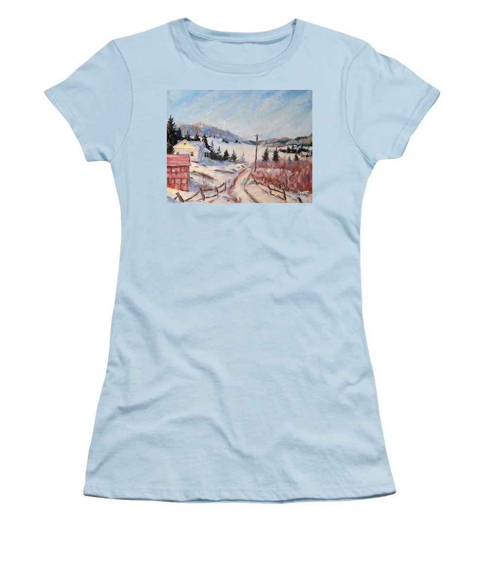 Road Women's T-Shirt (Athletic Fit) featuring the painting Cottage Road by Richard T Pranke