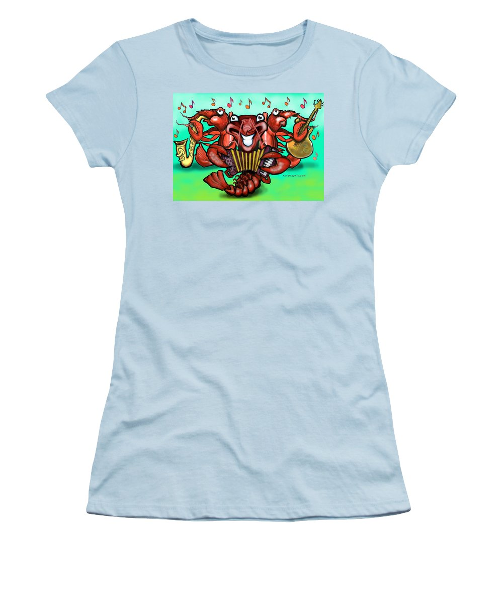 Crawfish Women's T-Shirt (Athletic Fit) featuring the greeting card Crawfish Band by Kevin Middleton