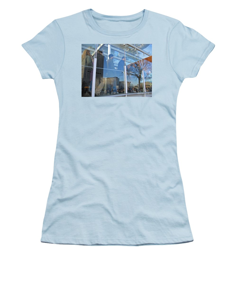 London Women's T-Shirt (Athletic Fit) featuring the photograph Crowd Queuing Up by Ann Horn