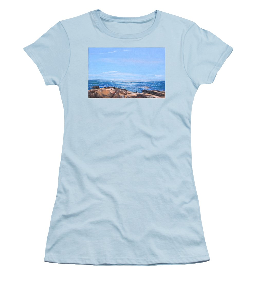 Seascape Women's T-Shirt (Athletic Fit) featuring the painting Dancing Light by Lea Novak