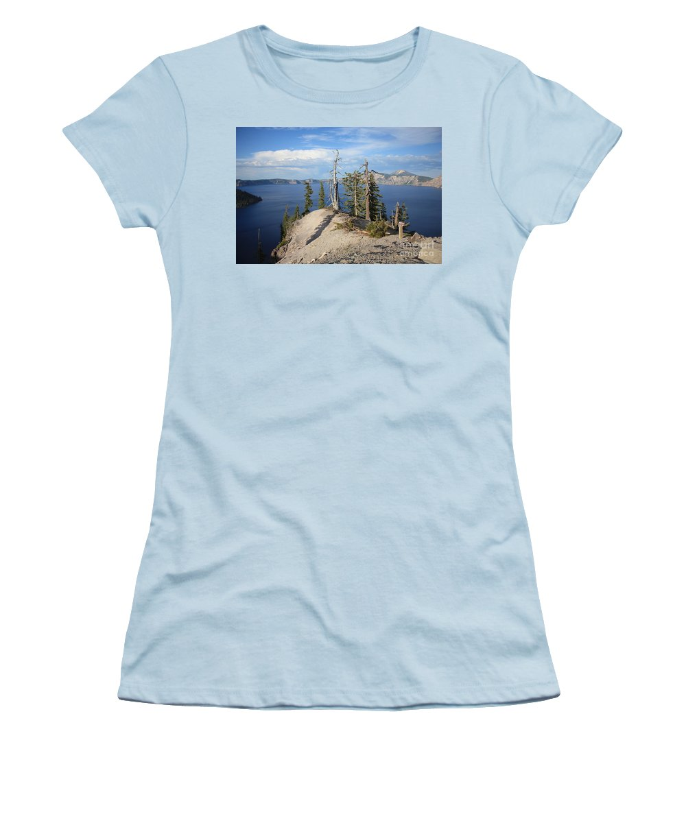 Crater Lake Women's T-Shirt (Athletic Fit) featuring the photograph Dangerous Slope At Crater Lake by Carol Groenen