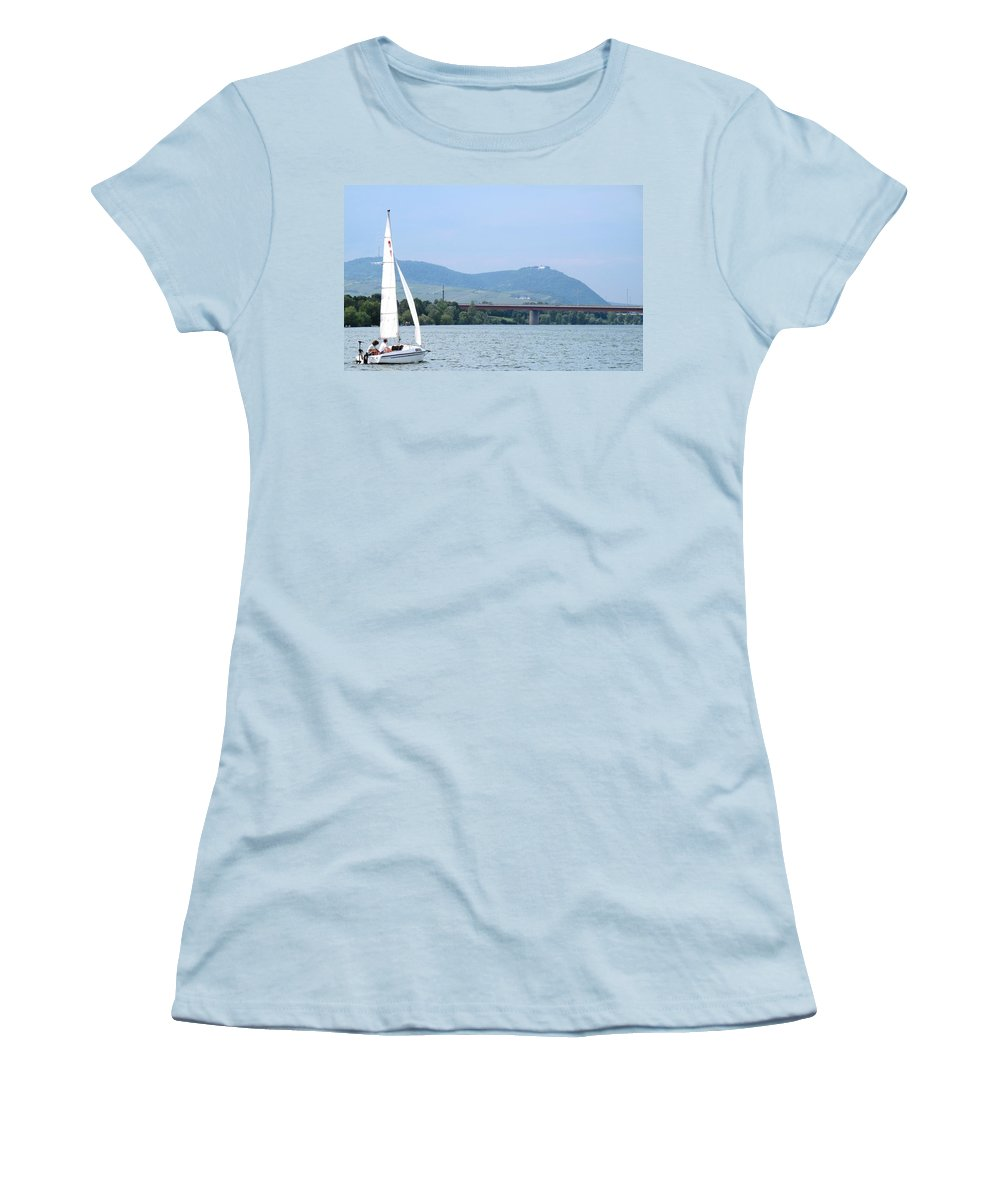 Sail Women's T-Shirt (Athletic Fit) featuring the photograph Danube River Sailor by Ian MacDonald