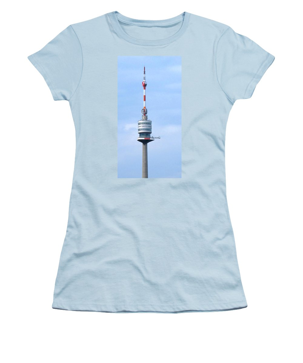 Danube Women's T-Shirt (Athletic Fit) featuring the photograph Danube Tower Vienna by Ian MacDonald